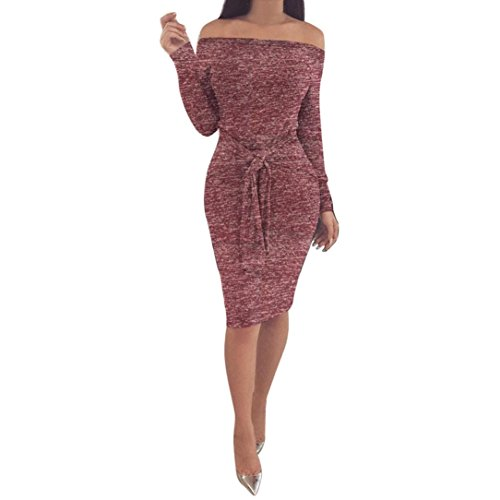 Muranba Sexy Women Winter Bodycon Off The Shoulder Long Sleeve Evening Party Mini Dress (Wine red, (Adult Liquid Metallic Pant)