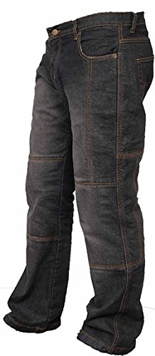 Newfacelook Mens Motorcycle Protective Lined 14OZ Jeans Pants Trousers Black ()