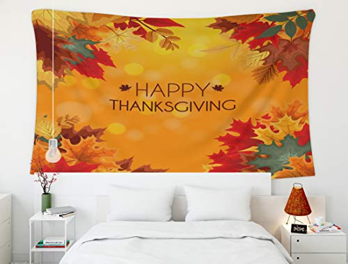 (Crannel Christmas Autumn Happy Thanksgiving Background Falling Leaves Tapestry 50x60 Inches Wall Art Tapestries Hanging for Dorm Room Living Home Decorative )