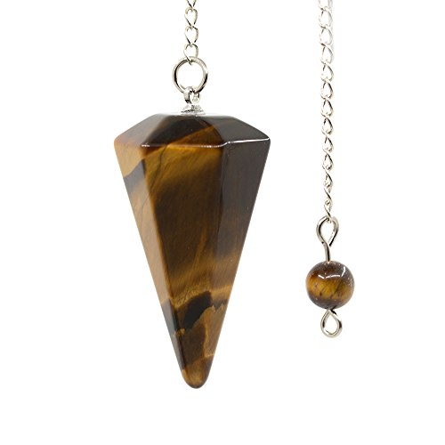 - Natural Golden Tiger Eye Gemstone Rock Crystal Hexagonal Pointed Reiki Chakra Pendant Pendulum