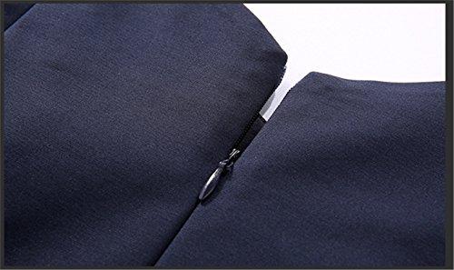 Blu maniche maniche Abito vintage da FuweiEncore da elegante sera senza Abito Navy con lunghe cocktail xfpSwPOq