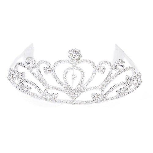 PIXNOR Rhinestones Crown Tiara Headband Hairwear with Comb -
