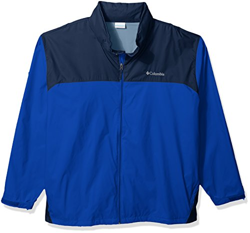 (Columbia Men's Big and Tall Glennaker Lake Front-Zip Rain Jacket with Hideaway Hood, Azul/Collegiate Navy, 2X)