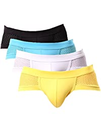 4 Pack Ice Silk Men's Underwear Mesh Sexy Breathable Briefs Underpants