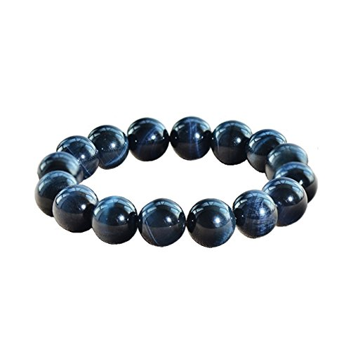 Onlineb2c Natural Blue Tiger Eye Bracelet Women's  Men's Bracelet Stretch Bracelet Good Luck Bracelet Beads 8mm-16mm (14mm)
