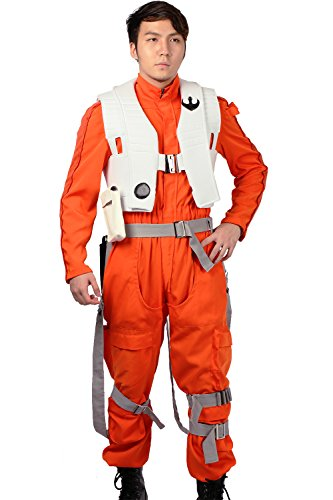 Poe Dameron Costume Deluxe Orange Jumpsuit Suit Halloween Cosplay Outfit Xcoser (X-wing Fighter Pilot Costume)