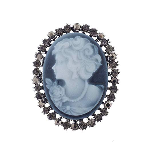 - Lux Accessories Antique Vintage Blue Cameo Brooch Burnished Silver Paver Stones