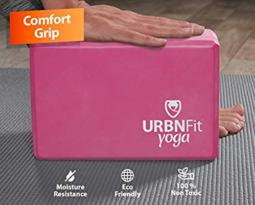 Free PDF Workout Guide 1PC or 2PC Blocks Set with Stretch Strap - Moisture Resistant High Density EVA Foam Block URBNFit Yoga Block - Improve Balance and Flexibility Perfect for Home or Gym