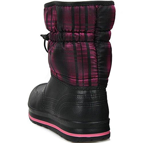 Nuova Donna Impermeabile Inverno Caldo Neve Leggera Stivali Da Pioggia Peso Nero Rosa