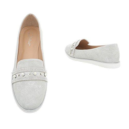 Ital-Design Women's Loafer Flats Flat Slippers at Silver Grey N-56 B9xW2IJ4Sr