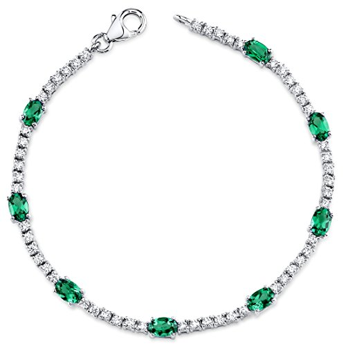 Simulated Emerald Bracelet Sterling Silver Rhodium Nickel Finish Oval Shape CZ Accent