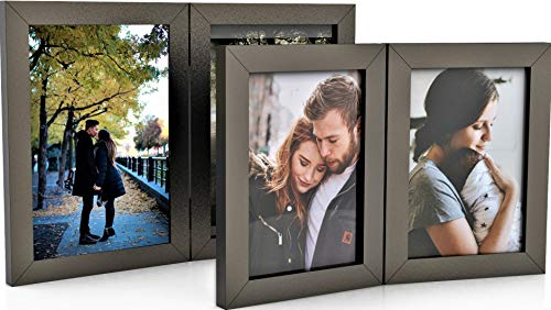2 Pack Double Wood Hinged Picture Frames, Double Photo Frame for Table Desk Top 2 Pack, Hinged Frame 2 Picture Displays, Handmade (4x6 + 5x7, Dark Brown) ()
