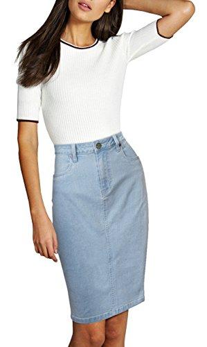 Womens Pull on Stretch Denim Skirt SKS22883 LIGHT WASH 14 (Light Skirt Denim)