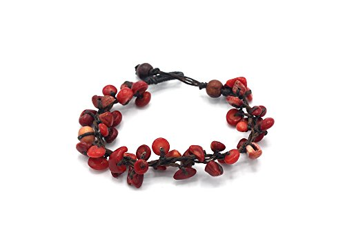 Chip Coral Red Bracelet (MGD, Red Coral Chip Bead Bracelet, 19 CM w/ 1 Inch Extend 3-Strand Bracelet, Beautiful Bracelet, Girl Handmade Jewelry, JB-0341B)