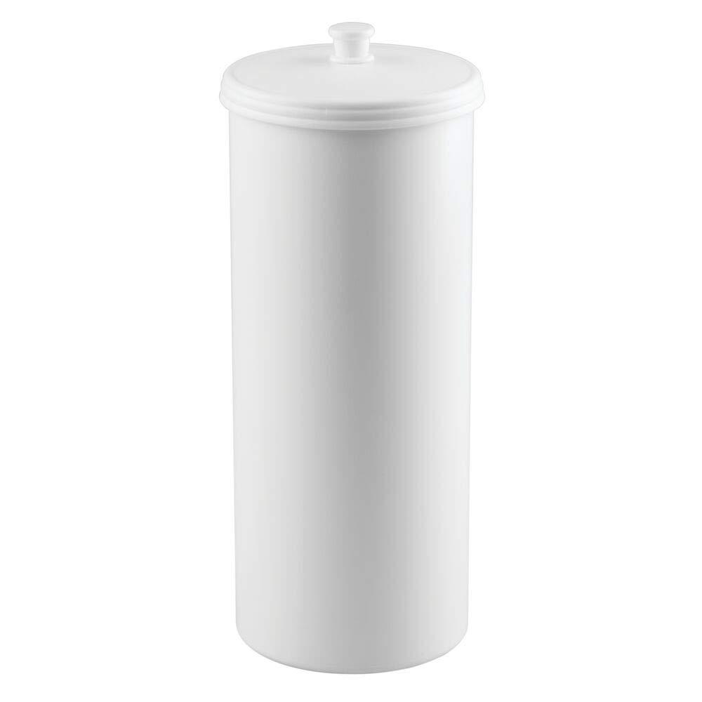 mDesign Dispensador de papel higi/énico sin taladro Blanco Pl/ástico resistente Decorativo portarrollos de pie Para 3 rollos de papel higi/énico Discreto almacenaje de ba/ño con tapa