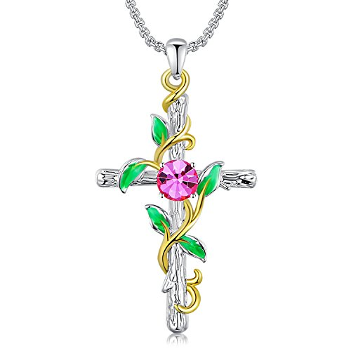 """GEORGE · SMITH """"Hallelujah""""Cross Pendant Necklace 14K Gold Plated Jewelry Gifts for Women,Pink Crystals from (To Women From God Costume)"""