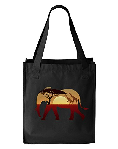 Elephant African Landscape Canvas Tote Bag, Organic Cotton, Black by Gbond Apparel