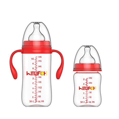 WITLIFCH Anti-Colic Baby Bottles Newborn - 6&10 OZ Baby Bottles for Girls and Boys with Handle - 2 Pack Wide Neck Bottles, Clear BPA-Free Feeding Bottle Gift Set