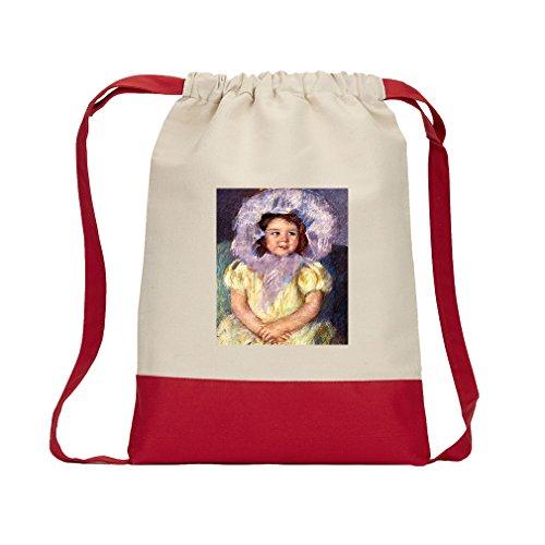 Margo In White (Cassatt) Canvas Backpack Color Drawstring Bag - - Brilliant Margo
