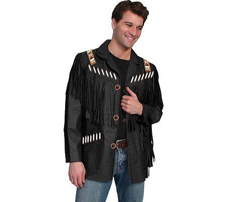 cdbe2f4548b Scully Men s Bone Beaded Fringe Leather Jacket - 902-409  Amazon.ca   Clothing   Accessories