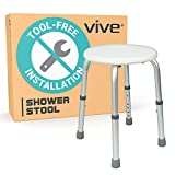 Vive Shower Stool - Bariatric Bath Tub Seat for Bathroom Safety & Shaving - Adjustable, Heavy Duty & Lightweight for Elderly, Senior, Handicap & Disabled - Round, White