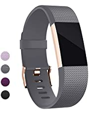 Hotodeal Band Compatible with Charge 2 Band, Classic Soft TPU Adjustable Bands Fitness Sport Strap Rose Gold Buckle, Small Large