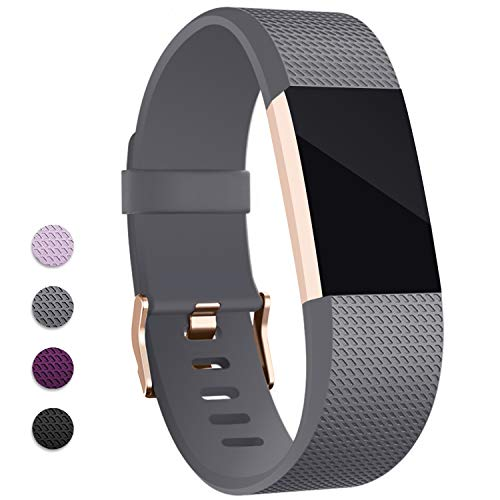 - Hotodeal Band Compatible with Fitbit Charge 2 Band, Classic Soft TPU Adjustable Replacement Bands Fitness Sport Strap, Rose Gold Buckle, Small Grey