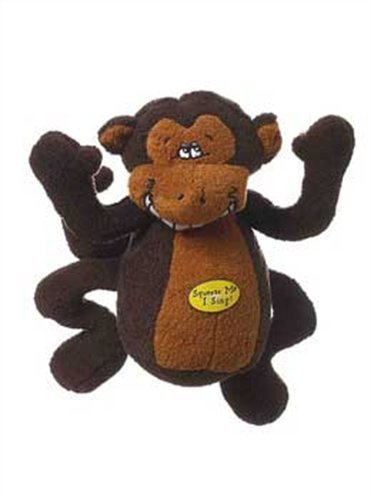 Multipet Deedle Dude 8-Inch Singing Monkey Plush Dog Toy, Brown by Multi Pet