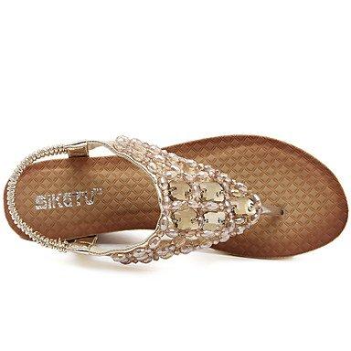 LvYuan Tacón Cuña-Confort Suelas con luz-Sandalias-Exterior Vestido Informal-Cuero Patentado-Oro Plata Gold