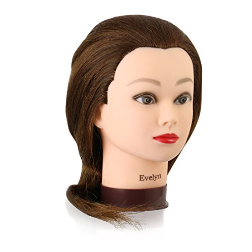 Mannequin Head with 100% Human Hair, 22 Inches Long, Auburn Shade, Hands-On Practice for Cosmetology and Hairdressing Students, by Adolfo Design