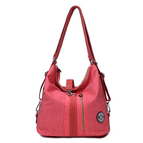 Outreo Sac Besace Femme Sac Porté épaule Imperméable Sac bandoulière Sac à Main Sac à Dos Sacoche Sac de Cours Voyage Messenger Bag pour école Rouge