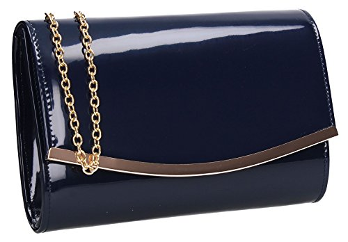 SWANKYSWANS Lilo Patent Leather Flapover Womens Ladies Party Prom Clutch Bag Navy Blue by SwankySwans