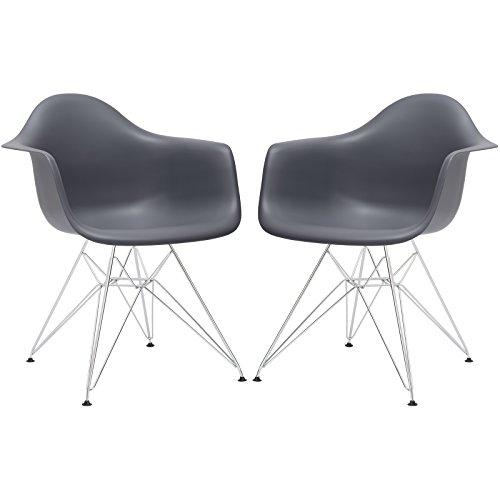Poly and Bark Padget Arm Chair in Grey (Set of 2) (Grey Ghost Chair)