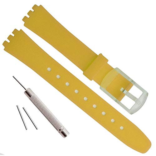 erproof Silicone Rubber Watch Strap Watch Band for Swatch (12mm, Yellow) ()