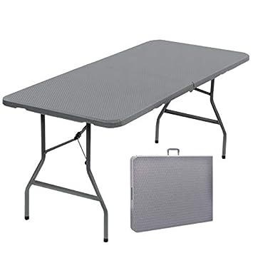 Probache - Table Pliante d\'appoint Effet résine tressée Grise 180 cm pour  Camping ou réception