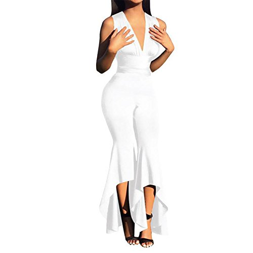 Rainlife jumpsuits Fashion Wide Leg Bodycon Jumpsuit Deep-V Summer Full Bodysuit Bodies Woman Sexy by Rainlife jumpsuits