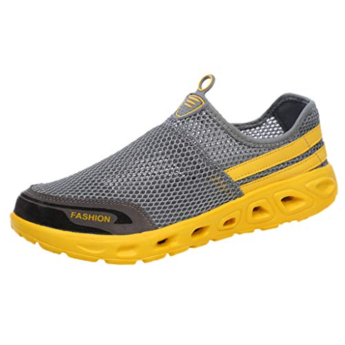 (Londony ✡ Men's Lightweight Quick Drying Water Shoes Athletic Sport Walking Shoes Fashion Women Breathable Slip on Shoes Gray)