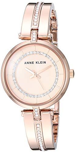 Anne Klein Women's AK/3248RGRG Swarovski Crystal Accented Rose Gold-Tone Bangle Watch