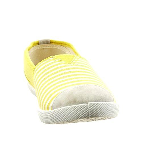 Alla 1 cm Strisce Moda a On Ballerina Scarpe da Caviglia Tacco Donna Ingiallimento Slip Blocco Sopily SYz1F6w