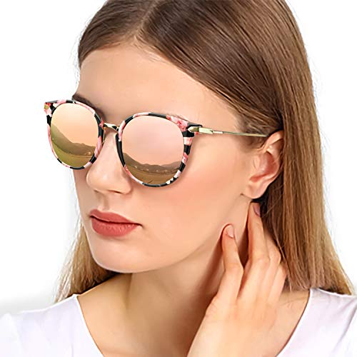 Sunglasses Eyewear Fashion - TJUTR Fashion Polarized Sunglasses for Women, Vintage Round Stylish Eyewear Classic Sun Glasses - UV400 for Driving (Floral Frame/Rose Gold Mirrored Lens)