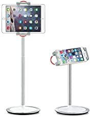 SAIJI Tablet Stand Holder, Height Adjustable, 360 Degree Rotating, Aluminum Alloy Cradle Mount Dock for 4.7-12.9 inch iPhone Samsung, iPad, Nintendo Switch, Kindle, eBook Reader
