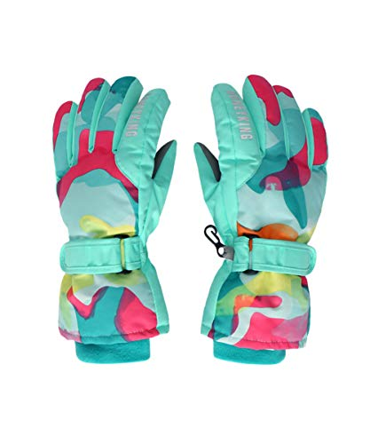 Hiheart Girls Winter Ski Gloves Waterproof Outdoor Thicken Glove Camo 10-12 Years