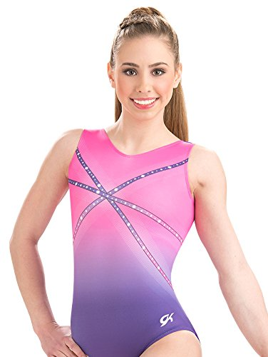 GK Girls Glitz & Glam Pink and Purple Gymnastics Leotard - Adult (Purple Leotards For Adults)