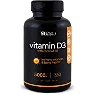 High Potency Vitamin D3 (5000iu/125mcg) enhanced with Coconut Oil for Better Absorption ~ Bone, Joint and Immune system support ~ Non-GMO & Gluten Free, 360 Mini Liquid Softgels