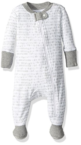 Burt's Bees Baby Unisex Baby Organic Zip Front Non-Slip Footed Sleeper Pajamas, Cactus Dew Drop, 0-3 Months