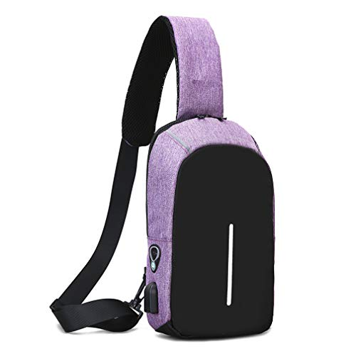Running Headphone Unbalance Outdoor Men For Cycling Charging With Chest Hiking Usb Shoulder Backpack And Stitching Purple Climbing Port Waterproof Travel 6qBzqd