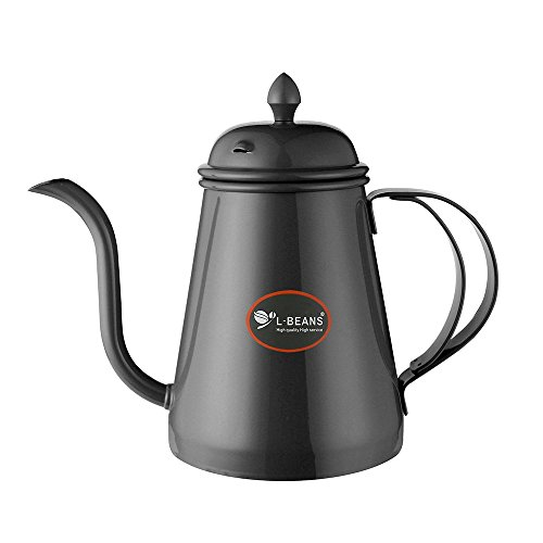 L-BEANS Hand Drip Kettle Pour Over Coffee and Tea Pot Premium Stainless Steel(Black) (Bean Pot Kettle compare prices)