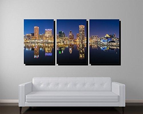 Baltimore Maryland Skyline Three Panel Canvas