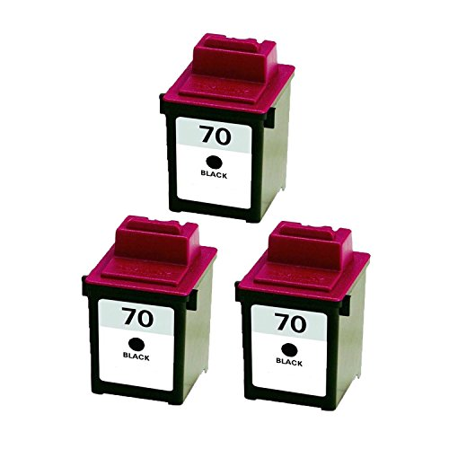 12a1970 Cartridge Black Inkjet Remanufactured (Remanufactured Ink Cartridge Replacement for Lexmark 70 12A1970 (3 Black) 3 Pack)