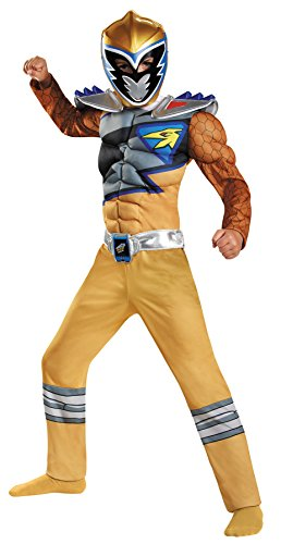 Boy's Gold Ranger Dino Charge Classic Muscle Outfit Child Halloween Costume, Child S -